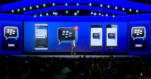 Former BlackBerry CEO Thorsten Heins announcing BBM for iOS and Android at BlackBerry World 2013, courtesy of DCLMoible.com